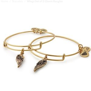 Alex and Ani Wings Set of 2 Charm Bangles